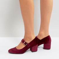 London Rebel Mid Heel Velvet Buckle Mary-Jane Shoe at asos.com