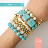 Arm Candy 6 Bracelets Set: Turquoise, White Quartz, Mint turquoise, Gold Plated Chains. Arm Party Chain and Braided Bracelets