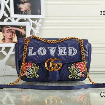 GUCCI 2018 new trend female models shoulder bag Messenger bag chain bag Blue