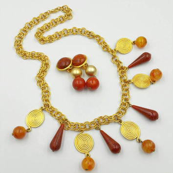 Gold Fringe Statement Necklace with Matching Earrings -  Gold Medallions Orange Brown Resin Plastic Beads