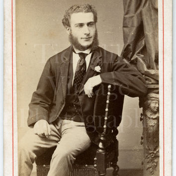 CDV Carte de Visite Photo Victorian Bearded Handsome Smart Man, Mutton Chops Portrait - Oldham & Cooper of Birmingham Midlands - Antique