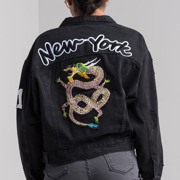 Button Up Long Sleeve Short Collar Dragon Embroidered New York Denim Jacket in Black