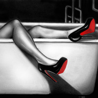 oil painting, christian louboutins, sexy, legs, bathtub, gumshoe, drunk