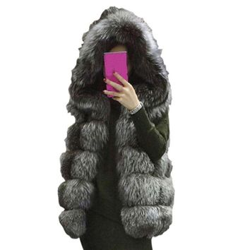 Women's Fur Vest Hooded Jacket Thick Winter Warm False Fur Collar High Imitation Leather Jacket Outerwear