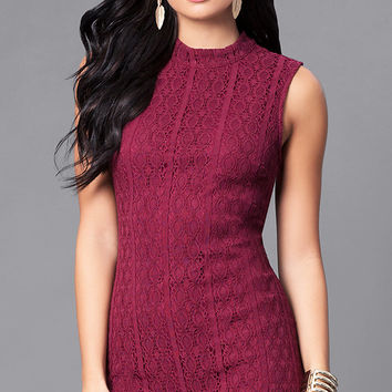 Short Lace Holiday Party Sheath Dress