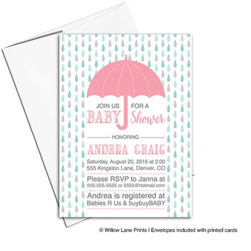 Umbrella baby shower invitation for girls | printed or printable baby shower invites rain drops | unique baby shower invitations - WLP00733