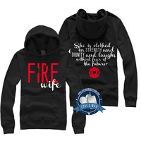 She is clothed in strength and dignity FIRE WIFE  Firefighter hoodie