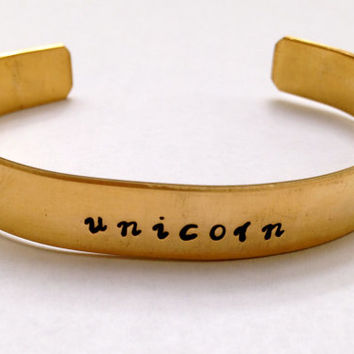 Unicorn Metal Stamped Brass Cuff