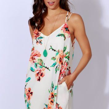 Rose & Thorn Print Dress Ivory