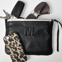 Small Black Leather Clutch, Leather Pouch, Leather Monogram, Leather carryall, custom handmade to order with Initials