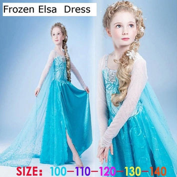 Halloween Frozen Princess Elsa Anna Cosplay Costumes Party Clothes Christmas Kid's Cosplay Dress Age3-8 = 1946669956
