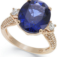 Velvet Bleu by EFFY Manufactured Diffused Sapphire (6-3/4 ct. t.w.) and Diamond (1/2 ct. t.w.) Ring in 14k Rose Gold