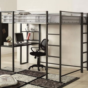 Sherman silver and gun metal finish metal frame full size loft bunk bed with desk are with shelves underneath
