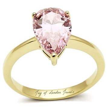 SALE   A Perfect 14K Gold 3.4CT Pear Cut Solitaire Pink Sapphire Ring