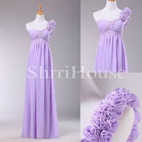One-shoulder Flower Strapless Empired Long Bridesmaid Celebrity Cocktail Dress ,Floor length Chiffon Evening Party Prom New Homecoming Dress