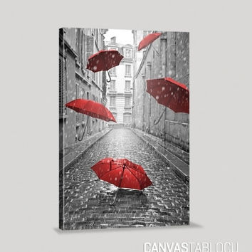 Canvas Art Printing - Paris Street and Red Umbrellas Canvas Print | Art Canvas Print | France Canvas Painting