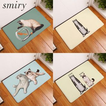 Autumn Fall welcome door mat doormat Smiry Welcome Home Hallway Decorative Stair Mats Cute Funny Lazy Cat Kitten Rugs Water Absorption Bathroom s Home Decor AT_76_7