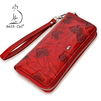 Beth Cat Women Wallet Genuine Leather Butterfly Print Fashion Zipper Long Wallets Clutch Lady Vintage Clutch Bag Coin Purse