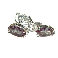 Alexandrite earrings, Marquise Shape, Sterling Silver