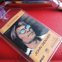 John Denver - Autograph - Upcycled Cassette Tape - Luggage, Back Pack, Musical Instrument Case or Bag Tag