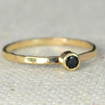 14k Gold Filled Black Ring