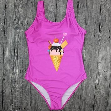 One Piece Bathing Suit LASPERAL 2018 Sexy  Swimsuit Ice Cream Digital Print  Bathing Suit Push Up Bodysuit Backless Beach Swimwear KO_9_1