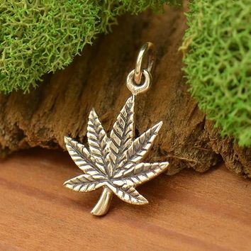 Sterling Silver Pot Leaf Charm - Maple Leaf
