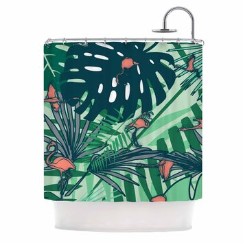 "bruxamagica ""Flamingo And Tropical Leaves"" Green Coral Animals Nature Illustration Digital Shower Curtain"