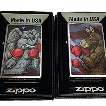 Zippo Custom Lighter - Set of 2 Lighters Democratic Symbol Donkey and Republican Elephant Boxing - Regular Brush Finish Chrome