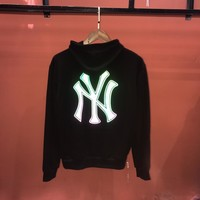 HCXX 19Aug 314 MLB New York Yankees Reflective Thin Section Cotton Terry Sweater