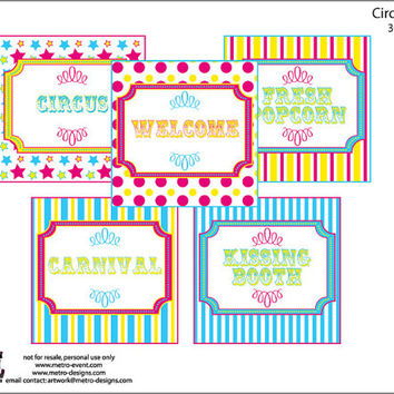 Carnival Party Signs, Circus Signs, Carnival Party Supplies, Carnival Party, Circus Party, Circus Party Supplies