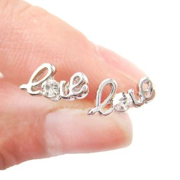 Tiny Love Cursive Letter Shaped Stud Earrings in Silver with Rhinestones | DOTOLY