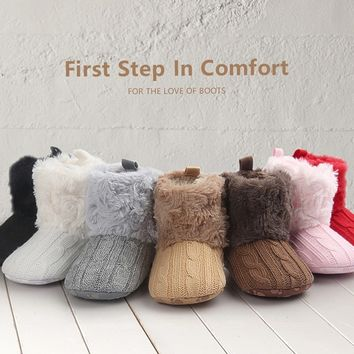 Baby Fleece Knit Soft Snow Crib Shoes
