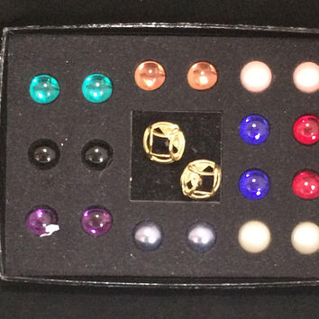 Joan Rivers Interchangeable Cabochon Earrings, 9 Different Dome Design, Clip On Style, Gold Plated, Signed Jewelry 618m