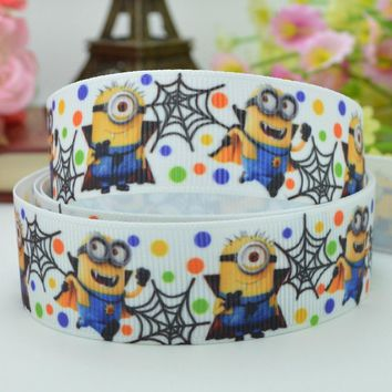 "DUWES 7/8"" 22mm Minions Halloween haunted dots Printed grosgrain ribbon hair bow DIY handmade OEM 50yards"
