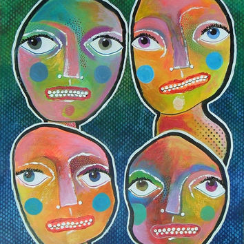 Naive Art Faces - Folk Art Faces - Folk Art People - Outsider Art Print - Childlike Art - Whimsical People - Whimsical Print - Funky Art