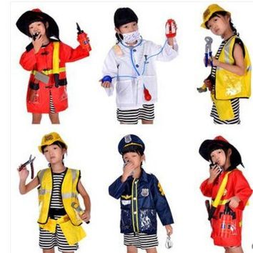 ICIKH6B 2016 Hot sale Brief 1Set Kid Child Halloween Christmas Cosplay Firefighter Fireman Costume Cosplay clothing
