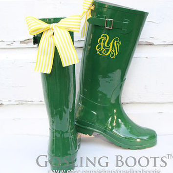 Custom Monogram Green Gloss Rain Boots with Yellow Bows