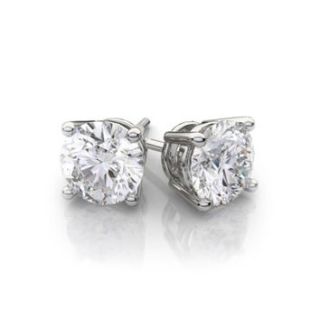 Kids/Girls 18K White Gold Over Silver Round White CZ VS1 Earrings