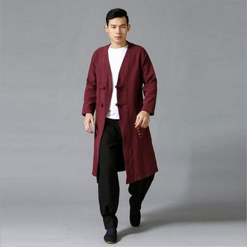 The coolest ethnic trend fashion wind breaker raincoat mianyiwaitao natural linen flocking long jacket coat 2colors Plus size