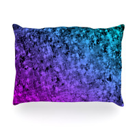 "Ebi Emporium ""Romance Me at Midnight"" Teal Blue Oblong Pillow"