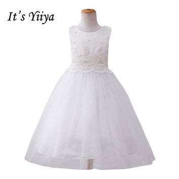It's YiiYa 3 Colors Sleeveless O-Neck Handmade Beading Pearls Lace Kids Princess Flower Girls Dress Pageant Party Gowns TS162