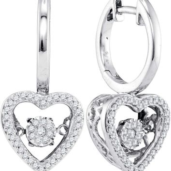 10kt White Gold Women's Round Diamond Heart Moving Twinkle Dangle Earrings 1-4 Cttw - FREE Shipping (US/CAN)