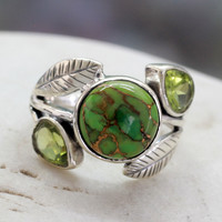 Peridot cocktail ring, 'Green Ivy'