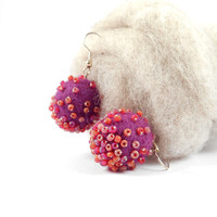 Purple Felt Earrings Natural Fiber Jewelry Spring Earrings Glass Bead Embroidered Wool Felted Beads