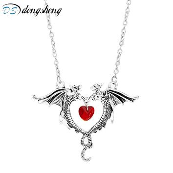 dongsheng Vintage Game Of Thrones Double Dragon Necklaces Vampire Diaries Punk Rose Flower Devil Heart Pendants for Women Girl-3
