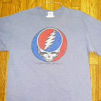 Grateful Dead  Steal Your Face Distressed Blue Shirt  Deadhead  Hippie   Sizes M  L XL  2X  plus size mens clothing
