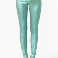 Metallic Skinny Jeans - Seafoam - Final Sale