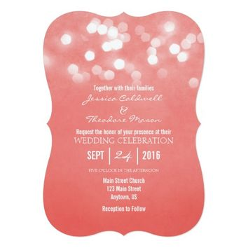 Coral Bokeh Glitter Lights Wedding Invitation