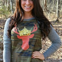 Queen Deer Camo Long Sleeve Pullover